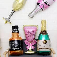 1 Stueck Champagnerflasche & becherformiger Ballon