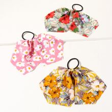 3pcs Girls Floral Pattern Hair Tie
