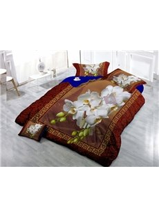 Top Grade White Flowers Wear-resistant Breathable High Quality 60s Cotton 4-Piece 3D Bedding Sets