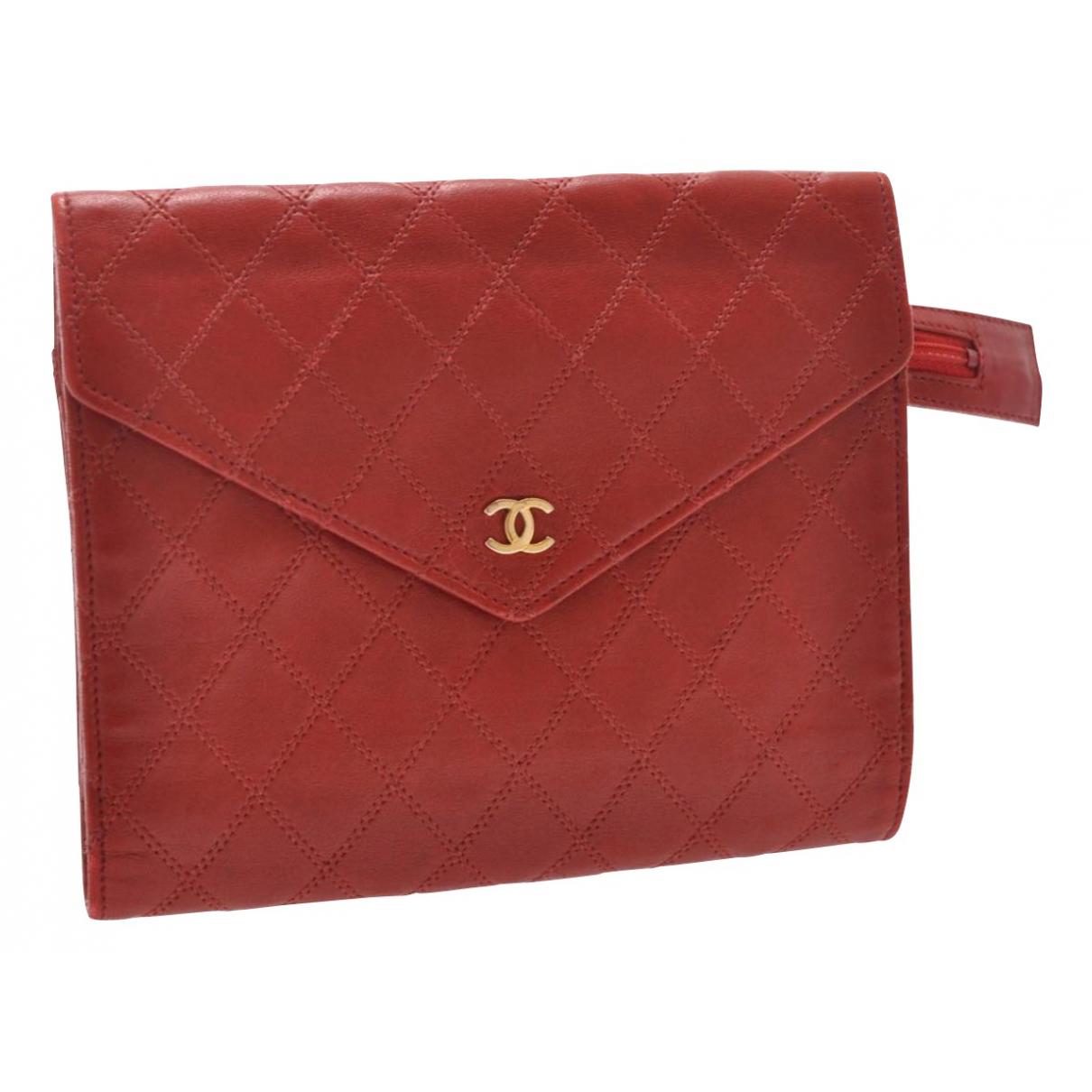 Chanel - Pochette   pour femme en cuir - rouge