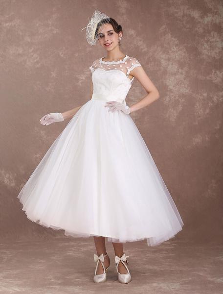 Milanoo Short Wedding Dresses Vintage 1950s Bridal Dress Open Back Polka Dot Ivory A Line Tea Length Wedding Reception Dress
