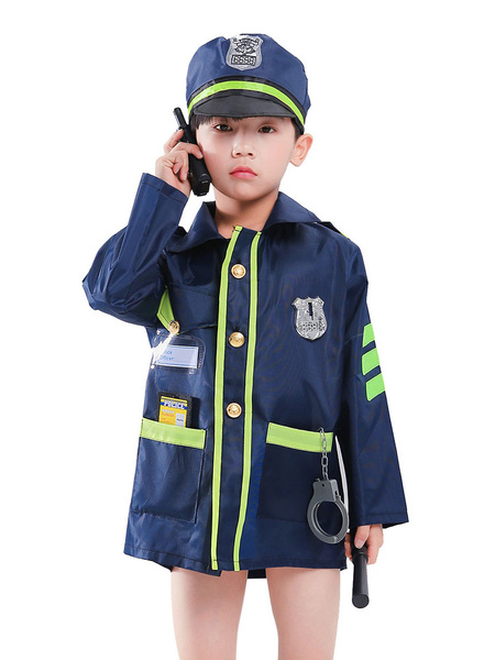 Milanoo Kids Traffic Police Halloween Cosplay Costumes Dark Navy Wears for Carnival Festival