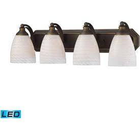570-4B-WS-LED 4 Light Vanity in Aged Bronze and White Swirl Glass -