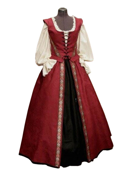 Milanoo Medieval Vintage Dress Red Layered Bows Sleeveless Halter Swing Dress Prom Dress