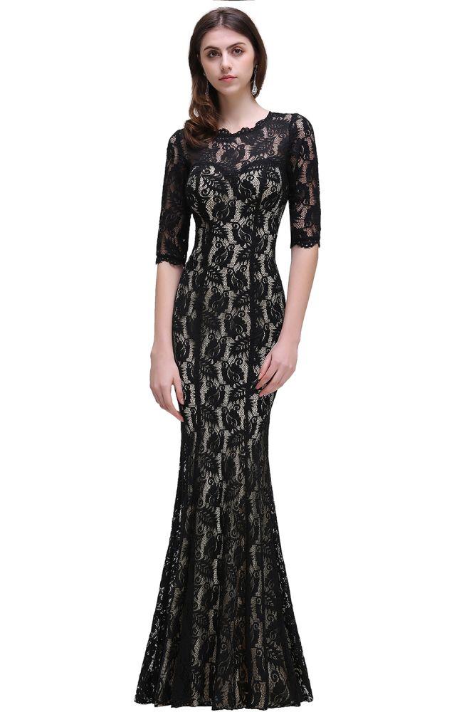 BRYLEE | Sirena joya encaje negro sexy vestidos de noche