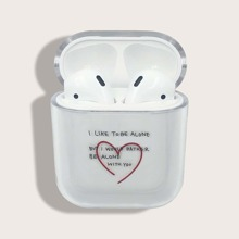 Heart Print Letter Graphic Clear Airpods Case