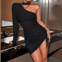 Cut Out Drawstring Side Bodycon Dress