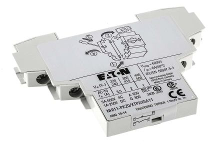 Eaton Auxiliary Contact - NO/NC, 2 Contact, Side Mount, 2 A dc, 3.5 A ac