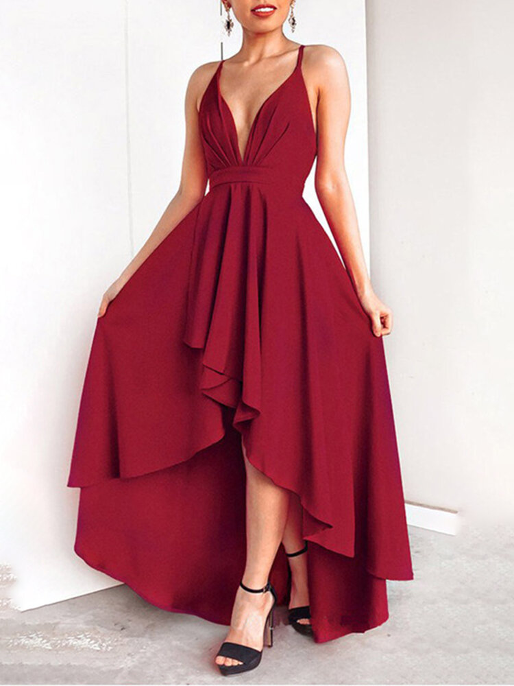 Irregular Backless Solid Color Sexy Evening Dress