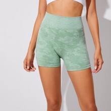 Camo Print High Waist Sports Shorts