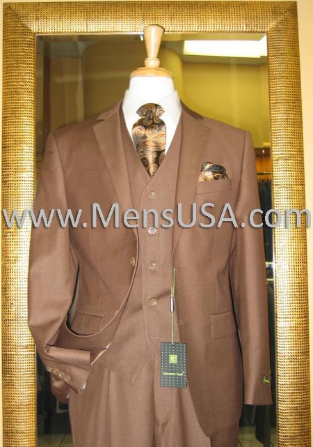 2 Button 3 Piece Mocca Fitted Suit Copper/Rust/Cognac