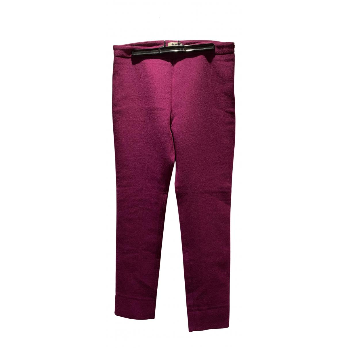Acne Studios \N Purple Wool Trousers for Women 36 FR