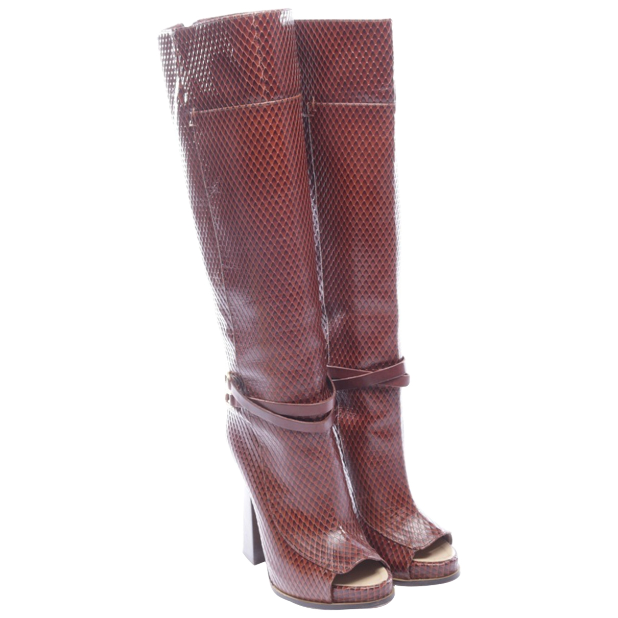 Pollini \N Brown Leather Boots for Women 37.5 EU