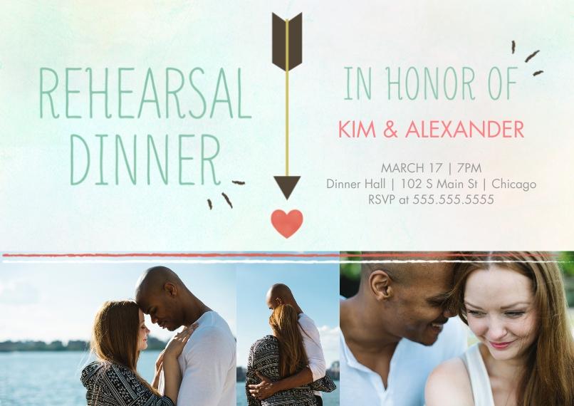 Rehearsal Dinner Invites 5x7 Cards, Standard Cardstock 85lb, Card & Stationery -Wrapped Heart Rehearsal Dinner
