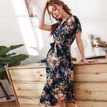 Allover Floral Split Side Belted Dress