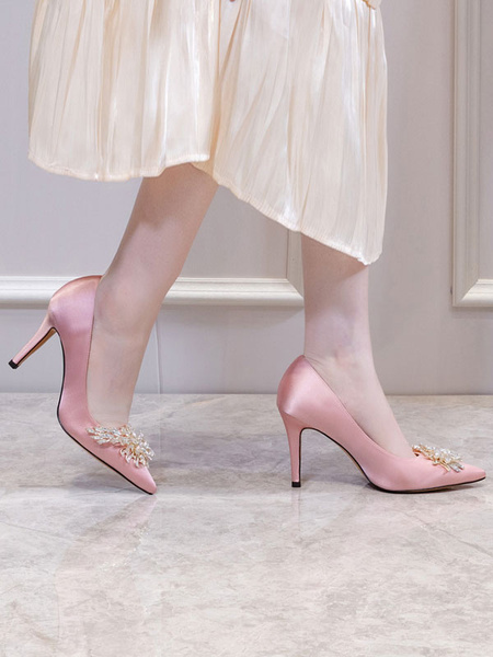 Milanoo High Heel Party Shoes Pink Pointed Toe Rhinestones Evening Shoes