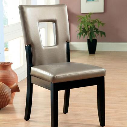 Evant I Collection CM3320SC-2PK Set of 2 Side Chair with Keyhole Back and Padded Leatherette Upholstery in Pewter and
