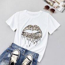 T-Shirt mit Leopard und Mund Muster
