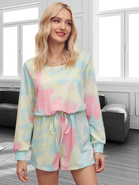 Milanoo Women\'s Loungewear 2-Piece Grey Long Sleeve Jewel Neck Cotton Fibers Tie Dye HomeWear
