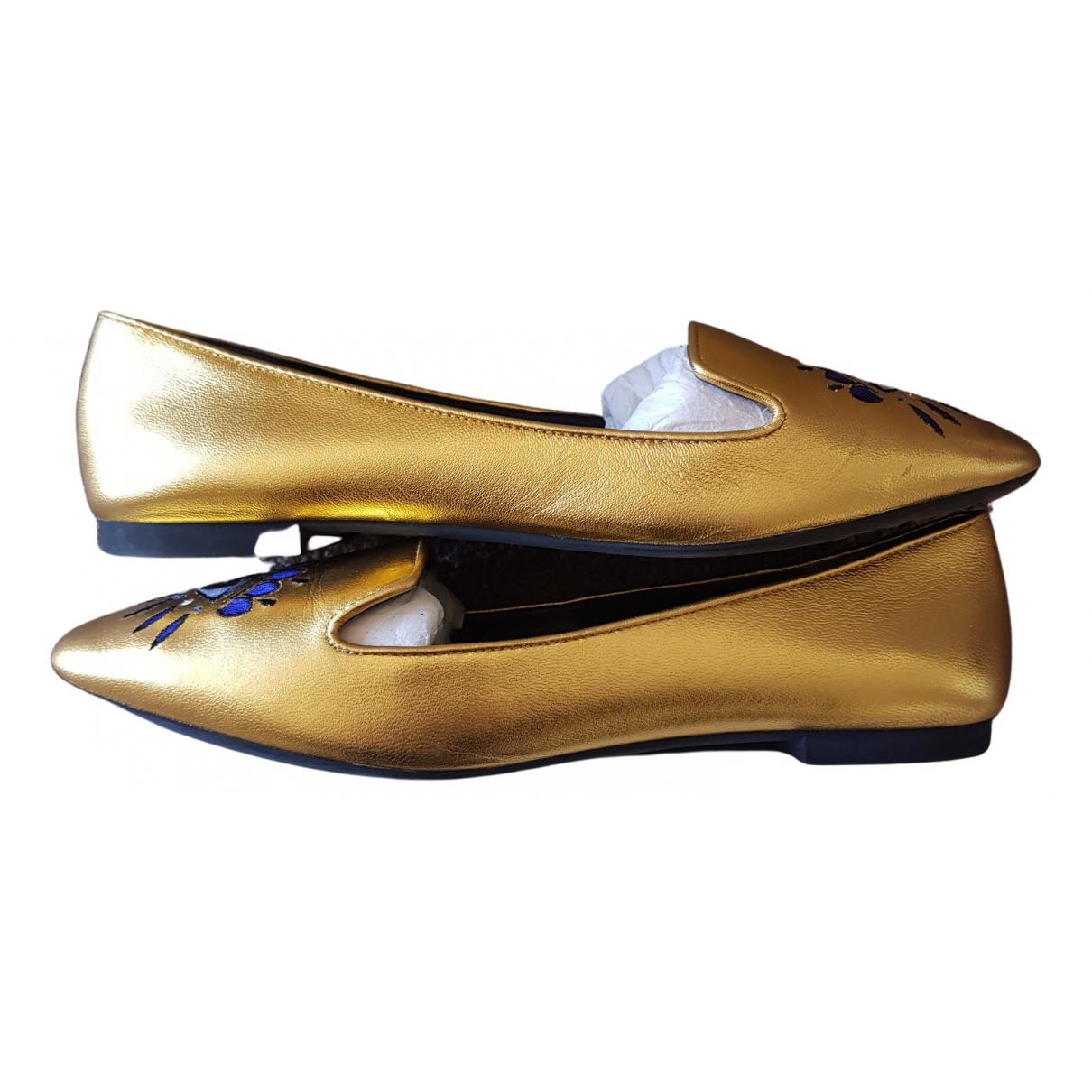 Kenzo N Gold Leather Flats for Women 38 EU
