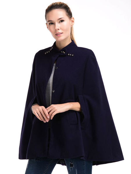 Milanoo Women Cape Coat Poncho Camel Button Stand Collar Woolen Mentel