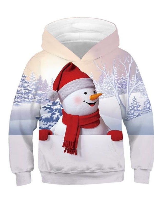 Christmas Cute Cartoon Snowman Pattern 3D Painted Long Sleeve Kid's Hoodie