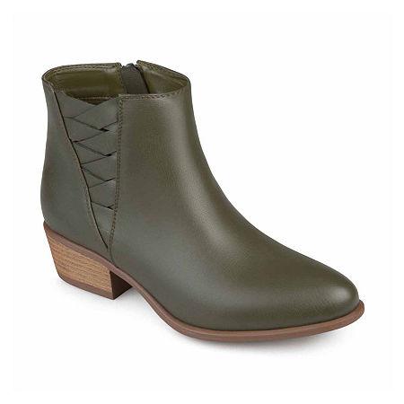 Journee Collection Womens Estell Booties Block Heel, 7 Medium, Green