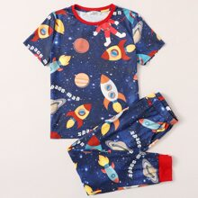 Boys Contrast Neck Galaxy and Letter Graphic Top & Pants PJ Set