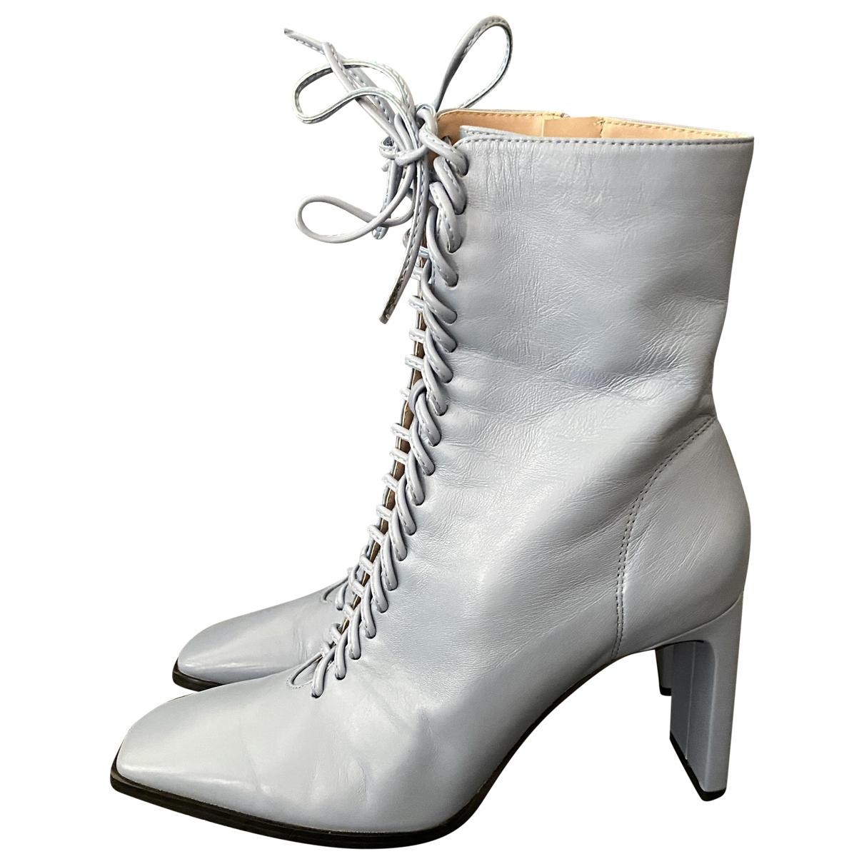 Zara - Bottes   pour femme en cuir - bleu