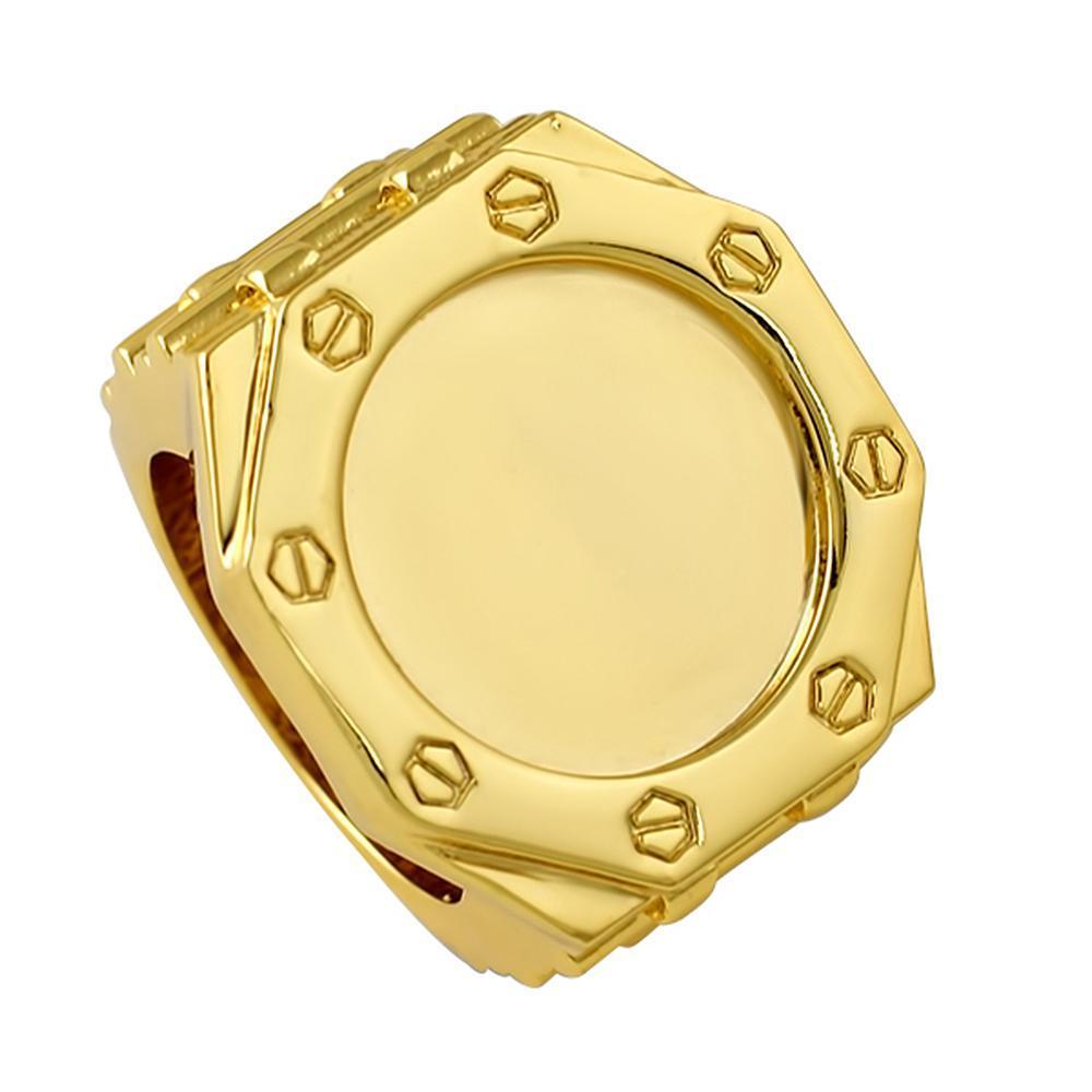 8 Sided Face Custom Gold Designer Ring