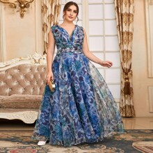 Plus Organza Floral Plunging Neck Maxi Prom Dress