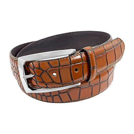 Stacy Adams Ozzie Croc Embossed Leather Belt, 52 , Brown