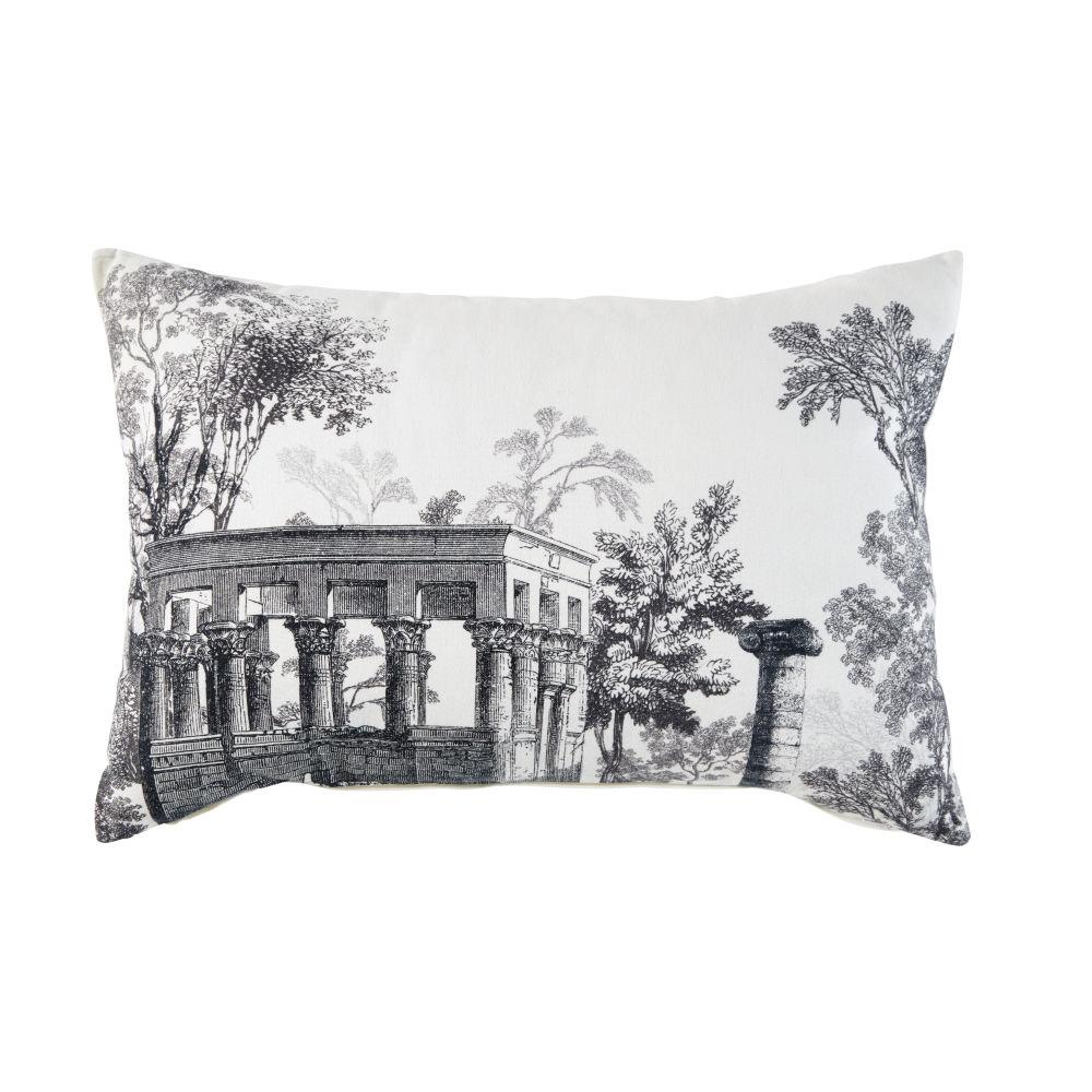 Kissen aus weisser Baumwolle mit Landschafts-Motiv in Grau 35x50