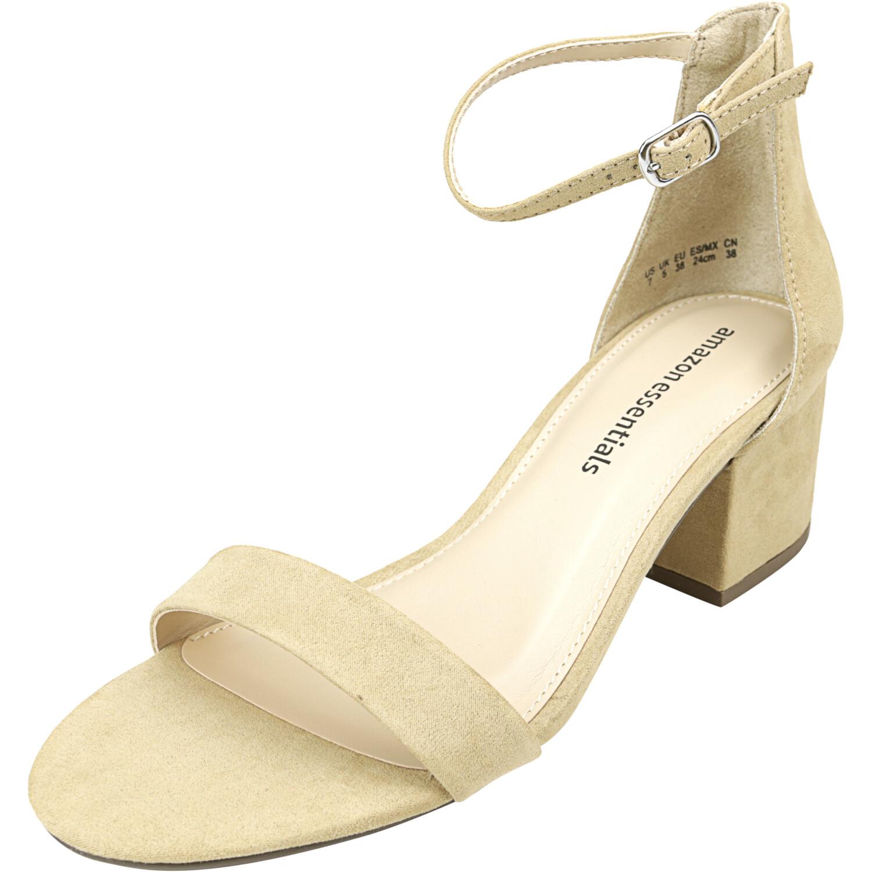 Amazon Essentials Women's Heeled Sandal Tan Ankle-High Heel - 7M