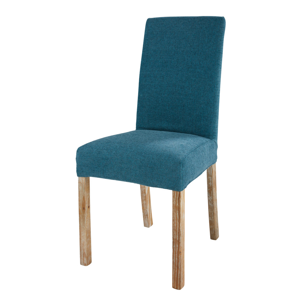 Stuhlbezug aus Stoff kobaltblau, 46x69