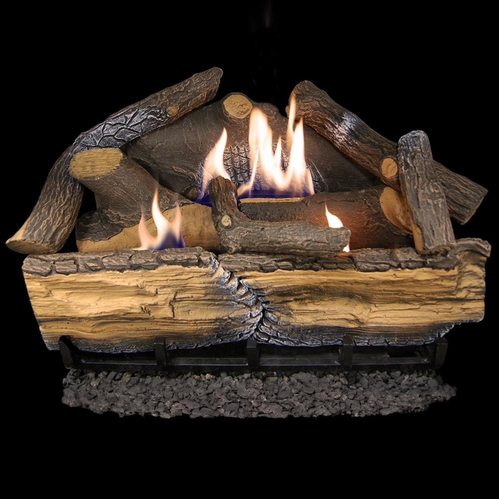 Cedar Ridge Hearth Recon 24-in 32,000-BTU Dual-Burner Ventless Gas Fireplace Logs with Thermostat R-CRHD24T-R (Black)
