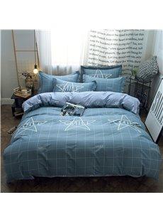 Plaid Simple Style Grey 4-Piece Cotton Bedding Sets/Duvet Covers