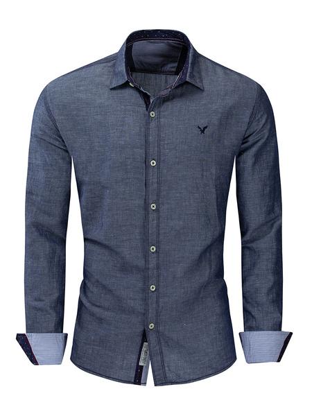 Milanoo Camisa vaquera de corte rugoso para hombre en gris