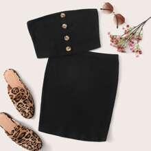 Conjunto top bandeau con boton delantero con falda ajustada