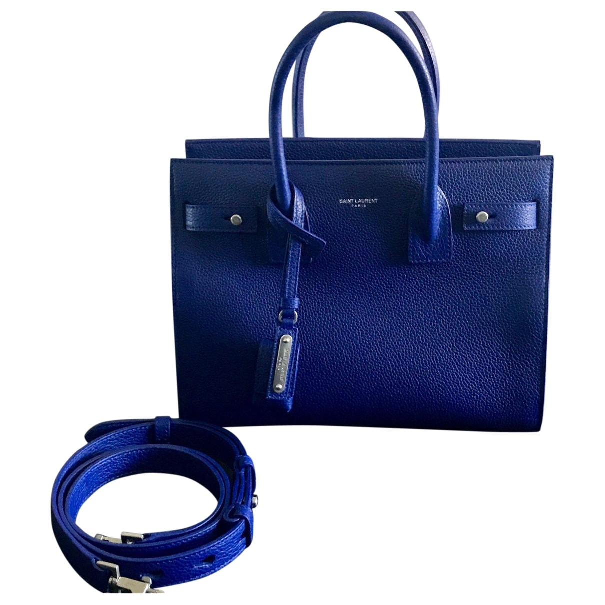 Saint Laurent Sac de Jour Blue Leather handbag for Women \N