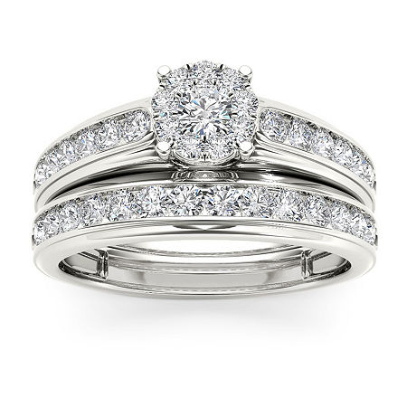 Womens 1 1/2 CT. T.W. Genuine White Diamond 10K Rose Gold Bridal Set, 6 1/2 , No Color Family
