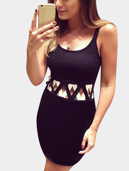 Yoins Contrast Color Sexy Bodycon Dress with Cut-out Details
