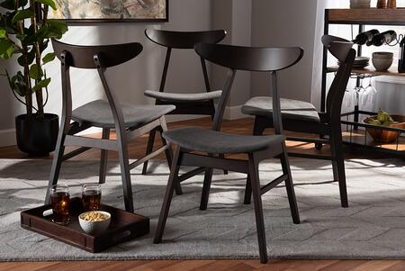 Baxton Studio FIESTA-IRON/COFFEE OAK-DC Britte Mid-Century Modern Dark Grey Fabric Upholstered Dark Oak Brown Finished 4-Piece Wood Dining Chair