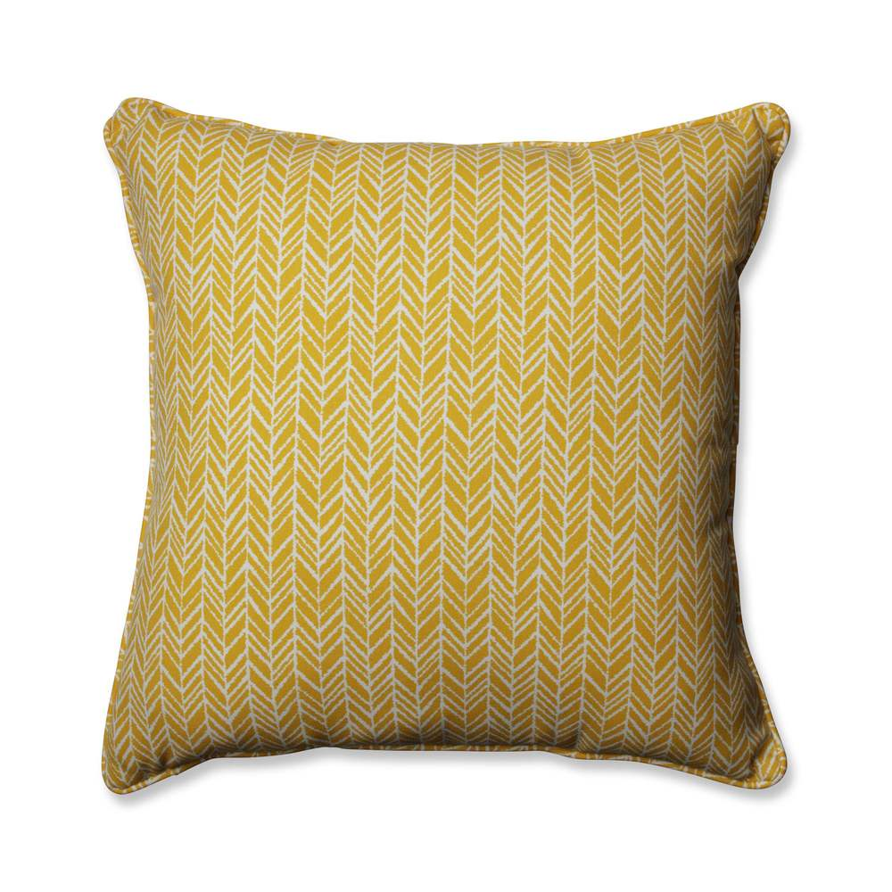 Pillow Perfect Outdoor/ Indoor Herringbone Egg Yolk 25-inch Floor Pillow (25-inch Floor Pillow)