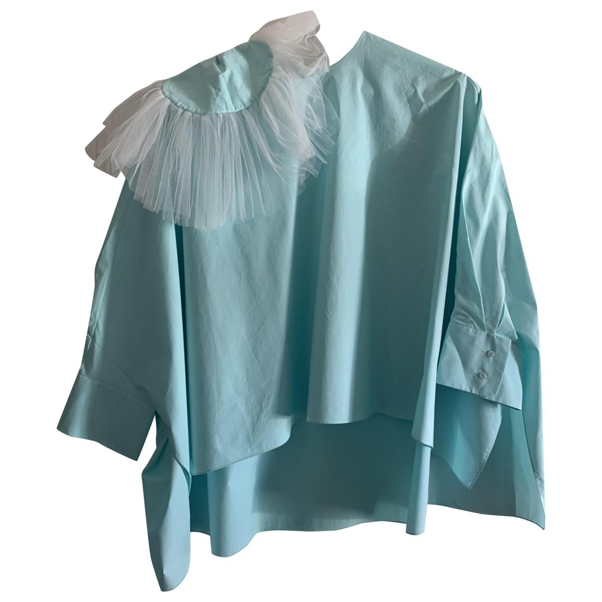Delpozo - Top   pour femme en coton - bleu