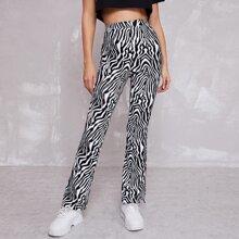 Pantalones de rayas de cebra bajo con abertura