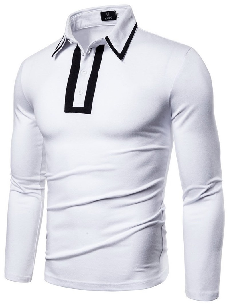Ericdress Patchwork Polo Neck European Mens Polo Shirt