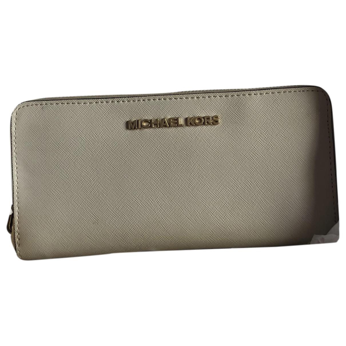 Michael Kors - Portefeuille   pour femme en cuir - ecru