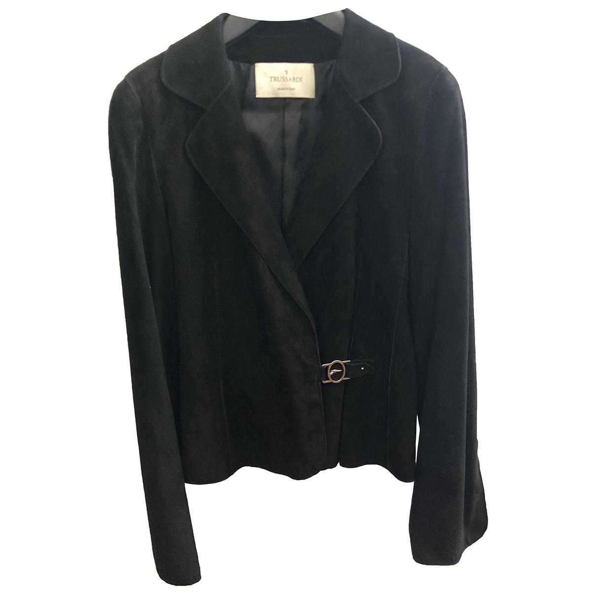 Trussardi - Veste   pour femme en suede - noir