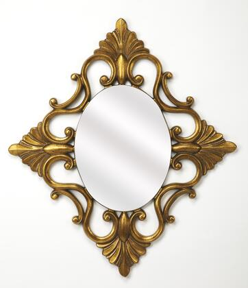 Calais Collection 4305226 Wall Mirror with Traditional Style  Oval Shape and Polyurethane Frame in Antique Gold